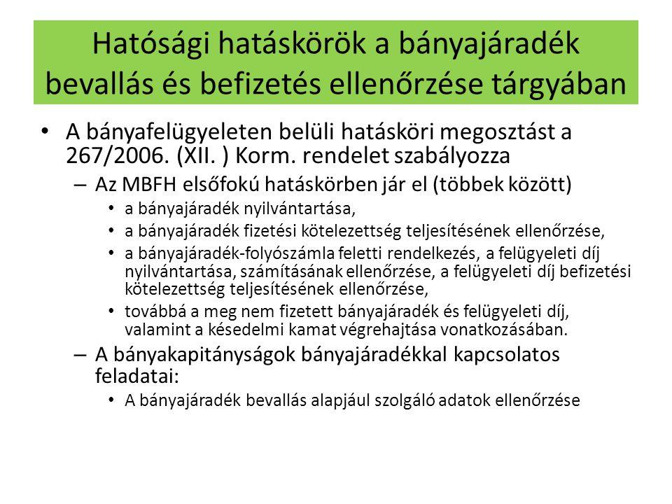 Hatósági hatáskörök a bányajáradék bevallás és befizetés ellenőrzése tárgyában • A bányafelügyeleten belüli hatásköri megosztást a 267/2006. (XII. ) K