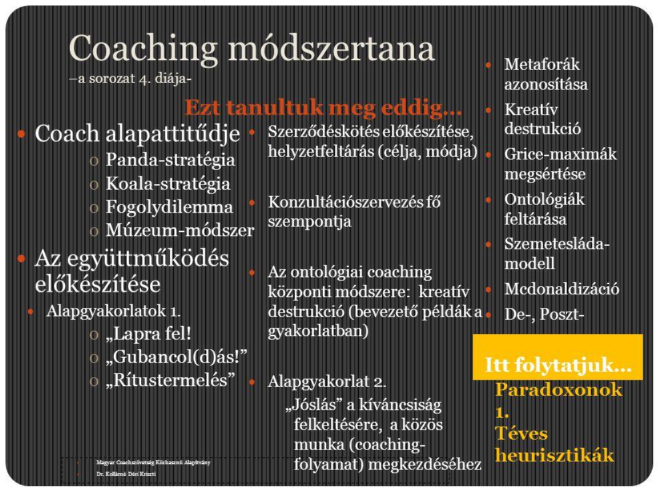 Coaching módszertana –a sorozat 4. diája- Ezt tanultuk meg eddig… Itt folytatjuk…  Coach alapattitűdje oPanda-stratégia oKoala-stratégia oFogolydilem