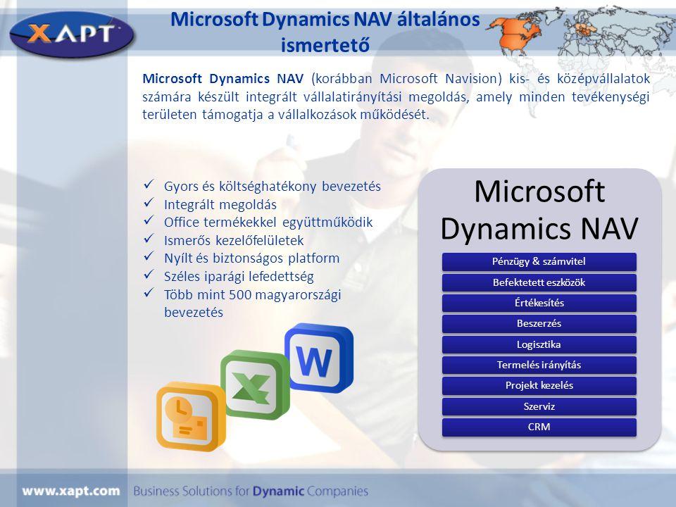 További megoldásaink Iparági megoldásaink: • NAV-UTIL(Távhő és közmű szolgáltatók részére) • NAV-BUILD(Építőipari cégek számára fejlesztett megoldás) • NAV-CONFIG(Termék konfigurátor) Kiegészítő megoldásaink: • Elektronikus számlázás (E-Group partnerünkkel közös megoldás) • Mobil eszköz alapú megoldások (Vonalkód olvasás, mérőóra leolvasás) • OLAP jelentések (NAV adatokon alapuló ad-hoc lekérdező eszköz) • ABEV interfész (Áfa bevallás automatikus elkészítés) • Dokumentum kezelés (Iktató és dokumentum archiváló rendszer) • Banki interfész (OTP, K&H, MKB, CIB, stb.) • Házipénztár (NAV-ba integrált) • Bér interfész (több bérszámfejtő rendszerhez)