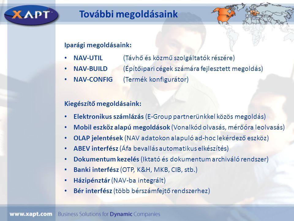 További megoldásaink Iparági megoldásaink: • NAV-UTIL(Távhő és közmű szolgáltatók részére) • NAV-BUILD(Építőipari cégek számára fejlesztett megoldás)