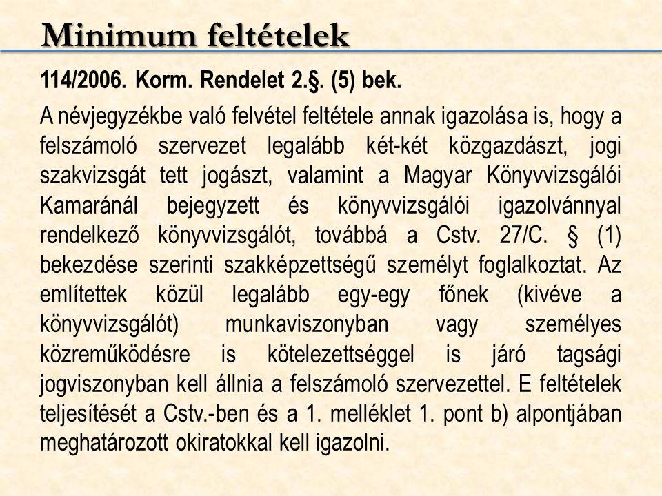 Minimum feltételek 114/2006. Korm. Rendelet 2.§. (5) bek. A névjegyzékbe való felvétel feltétele annak igazolása is, hogy a felszámoló szervezet legal