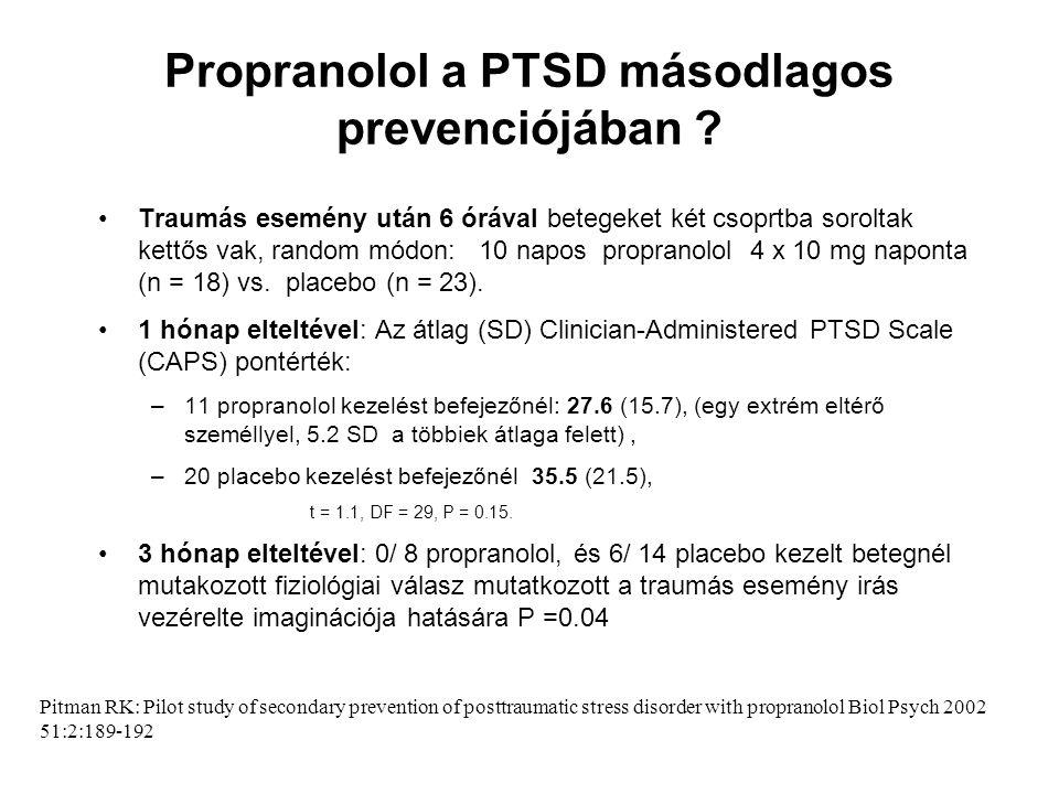 Propranolol a PTSD másodlagos prevenciójában ? •Traumás esemény után 6 órával betegeket két csoprtba soroltak kettős vak, random módon: 10 napos propr