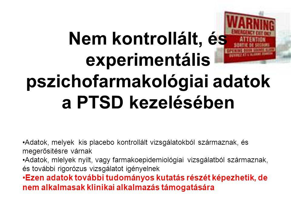 •Adatok, melyek kis placebo kontrollált vizsgálatokból származnak, és megerősitésre várnak •Adatok, mlelyek nyilt, vagy farmakoepidemiológiai vizsgála