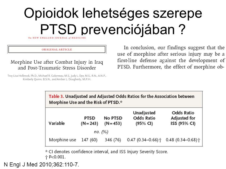Opioidok lehetséges szerepe PTSD prevenciójában ? N Engl J Med 2010;362:110-7.