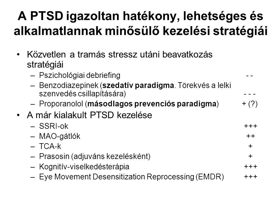 A PTSD igazoltan hatékony, lehetséges és alkalmatlannak minősülő kezelési stratégiái •Közvetlen a tramás stressz utáni beavatkozás stratégiái –Pszicho