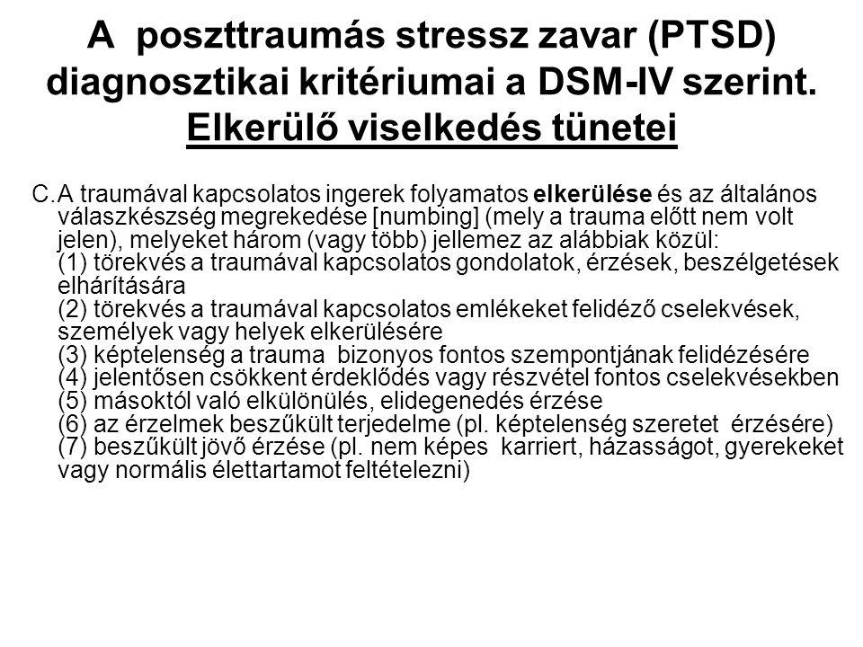A poszttraumás stressz zavar (PTSD) diagnosztikai kritériumai a DSM-IV szerint. Elkerülő viselkedés tünetei C.A traumával kapcsolatos ingerek folyamat