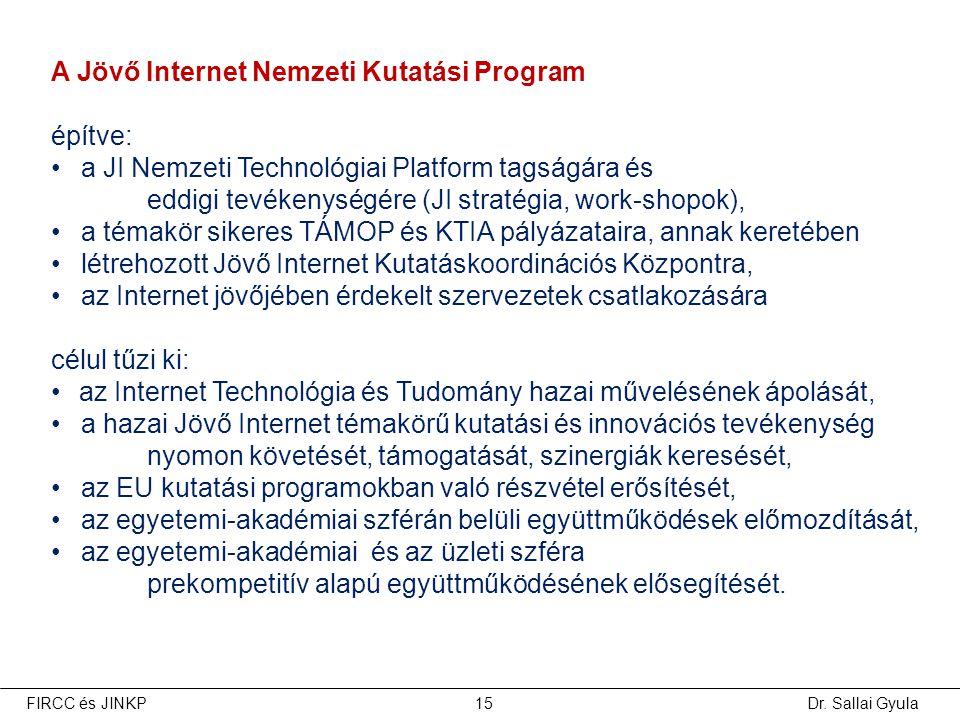 Dr. Sallai GyulaFIRCC és JINKP15 A Jövő Internet Nemzeti Kutatási Program építve: •a JI Nemzeti Technológiai Platform tagságára és eddigi tevékenységé