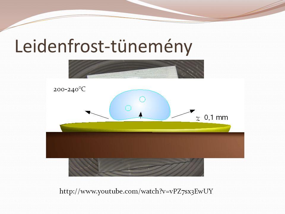 Leidenfrost-tünemény http://www.youtube.com/watch?v=vPZ7sx3EwUY 200-240°C