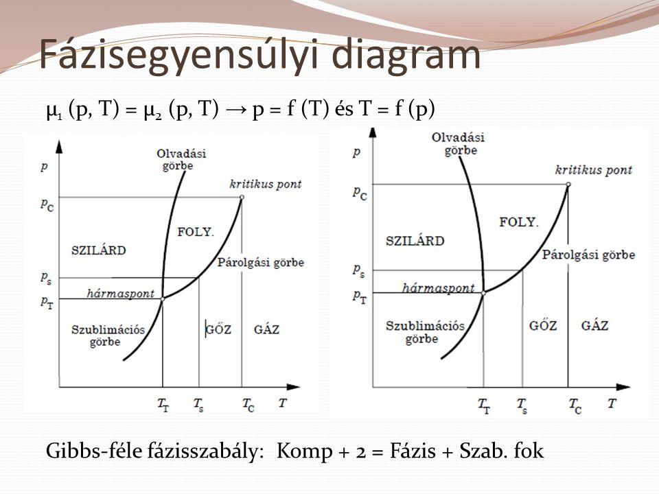 µ 1 (p, T) = µ 2 (p, T) → p = f (T) és T = f (p) Fázisegyensúlyi diagram Gibbs-féle fázisszabály: Komp + 2 = Fázis + Szab. fok