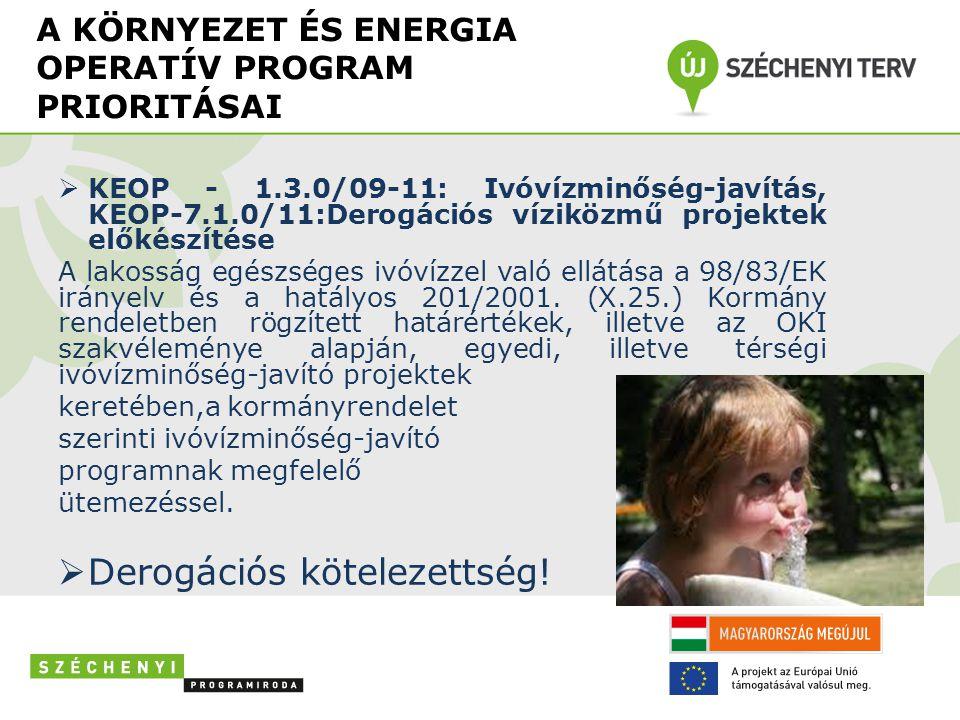 A KÖRNYEZET ÉS ENERGIA OPERATÍV PROGRAM PRIORITÁSAI  KEOP - 1.3.0/09-11: Ivóvízminőség-javítás, KEOP-7.1.0/11:Derogációs víziközmű projektek előkészítése A lakosság egészséges ivóvízzel való ellátása a 98/83/EK irányelv és a hatályos 201/2001.