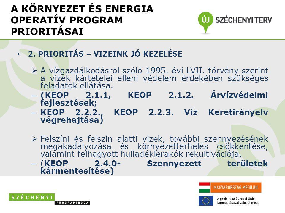 A KÖRNYEZET ÉS ENERGIA OPERATÍV PROGRAM PRIORITÁSAI • 2.