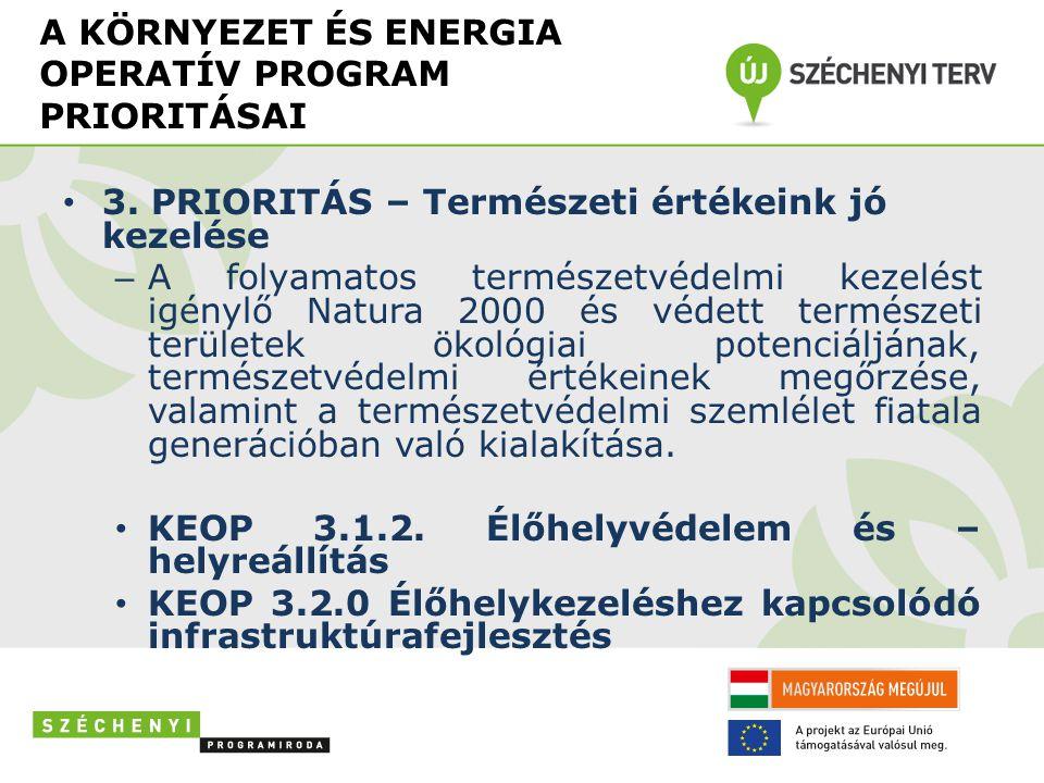 A KÖRNYEZET ÉS ENERGIA OPERATÍV PROGRAM PRIORITÁSAI • 3.
