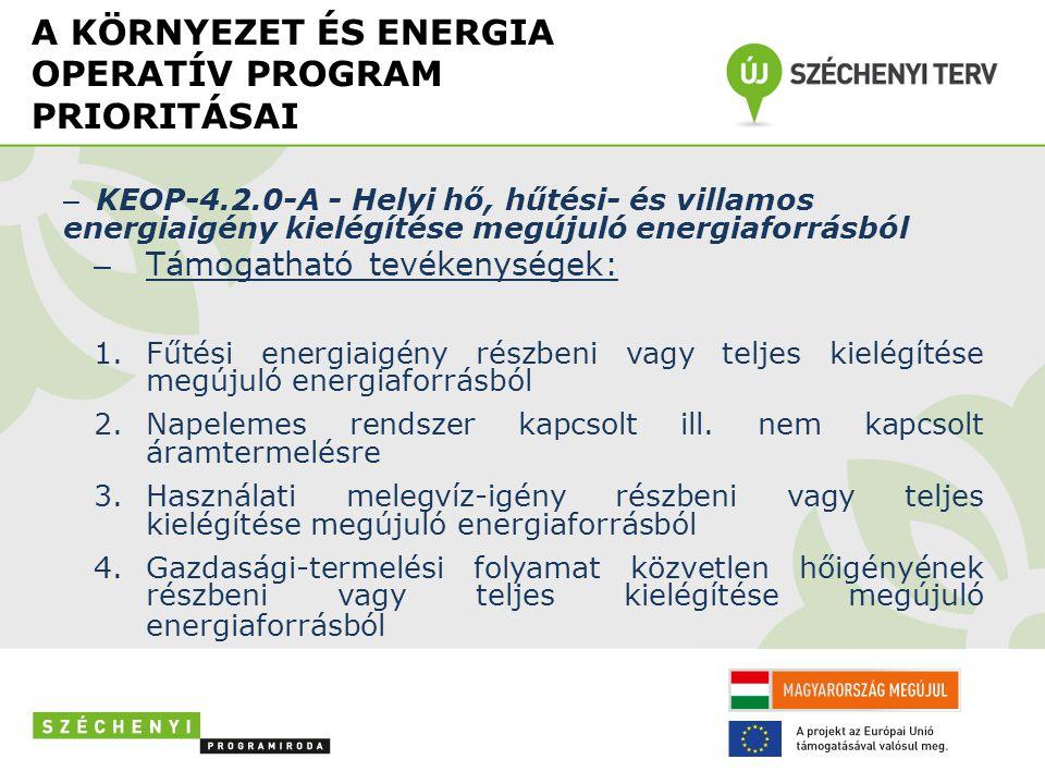 A KÖRNYEZET ÉS ENERGIA OPERATÍV PROGRAM PRIORITÁSAI – KEOP-4.2.0-A - Helyi hő, hűtési- és villamos energiaigény kielégítése megújuló energiaforrásból – Támogatható tevékenységek: 1.Fűtési energiaigény részbeni vagy teljes kielégítése megújuló energiaforrásból 2.Napelemes rendszer kapcsolt ill.