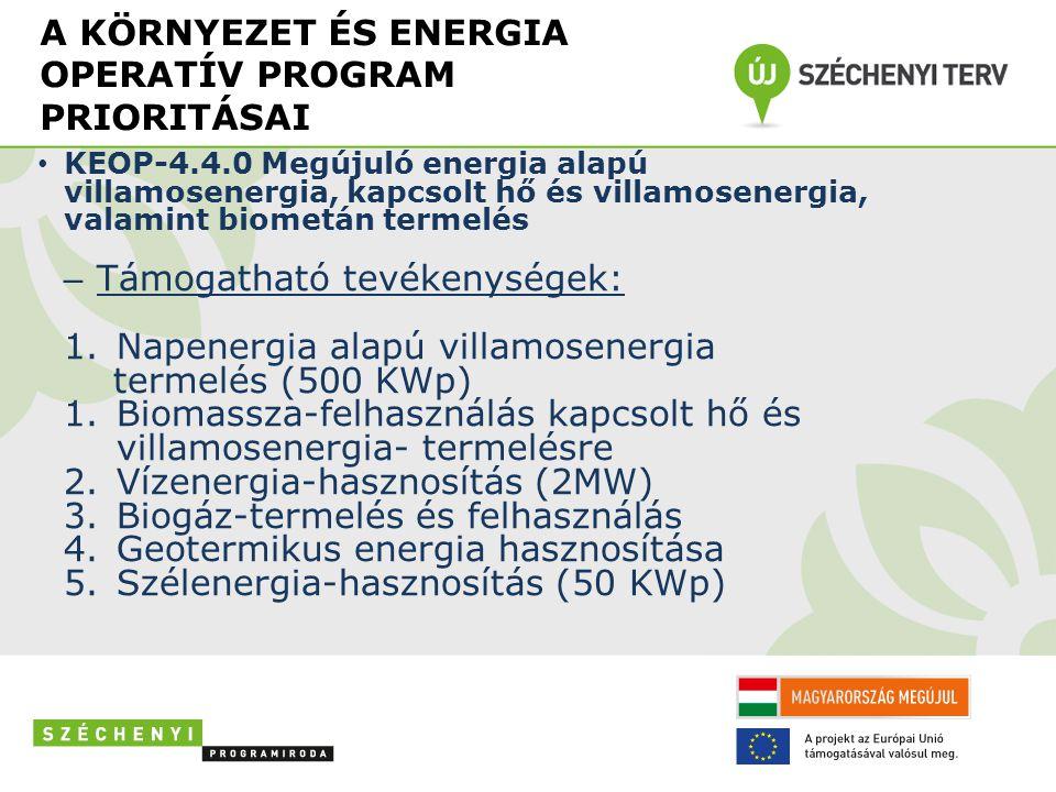A KÖRNYEZET ÉS ENERGIA OPERATÍV PROGRAM PRIORITÁSAI • KEOP-4.4.0Megújuló energia alapú villamosenergia, kapcsolt hő és villamosenergia, valamint biometán termelés – Támogatható tevékenységek: 1.Napenergia alapú villamosenergia termelés (500 KWp) 1.Biomassza-felhasználás kapcsolt hő és villamosenergia- termelésre 2.Vízenergia-hasznosítás (2MW) 3.Biogáz-termelés és felhasználás 4.Geotermikus energia hasznosítása 5.Szélenergia-hasznosítás (50 KWp)