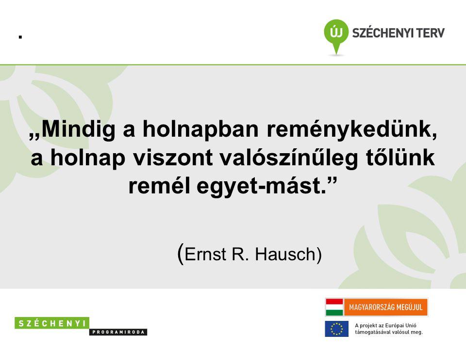 """"""" Mindig a holnapban reménykedünk, a holnap viszont valószínűleg tőlünk remél egyet-mást. ( Ernst R."""