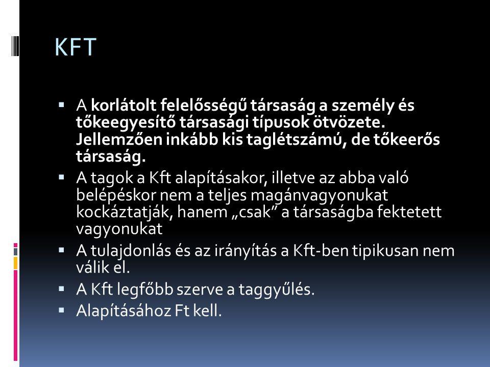 KFT  Előnyök:  A törzstőkét a Kft tulajdonosai adják össze;  a tag felelőssége a társasággal szemben törzsbetétjének erejéig és a társasági szerződésben esetleg megállapított egyéb vagyon, vagy vagyoni értékű jog szolgáltatására terjed ki.