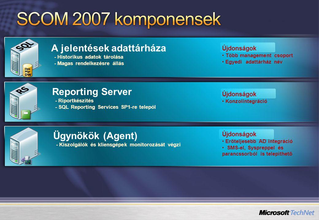A jelentések adattárháza - Historikus adatok tárolása - Magas rendelkezésre állás Újdonságok • Több management csoport • Egyedi adattárház név Reporting Server - Riportkészítés - SQL Reporting Services SP1-re telepól Ügynökök (Agent) - Kiszolgálók és kliensgépek monitorozását végzi Újdonságok • Konzolintegráció Újdonságok • Erőteljesebb AD integráció • SMS-el, Syspreppel és parancssorból is telepíthető