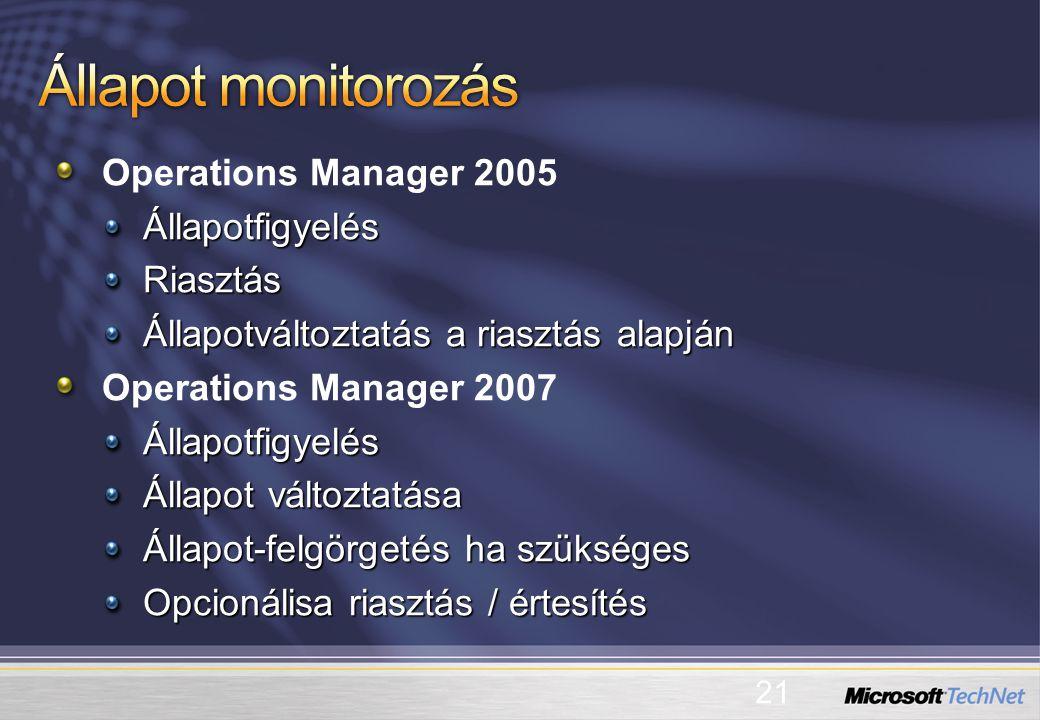 Operations Manager 2005ÁllapotfigyelésRiasztás Állapotváltoztatás a riasztás alapján Operations Manager 2007Állapotfigyelés Állapot változtatása Állapot-felgörgetés ha szükséges Opcionálisa riasztás / értesítés 21