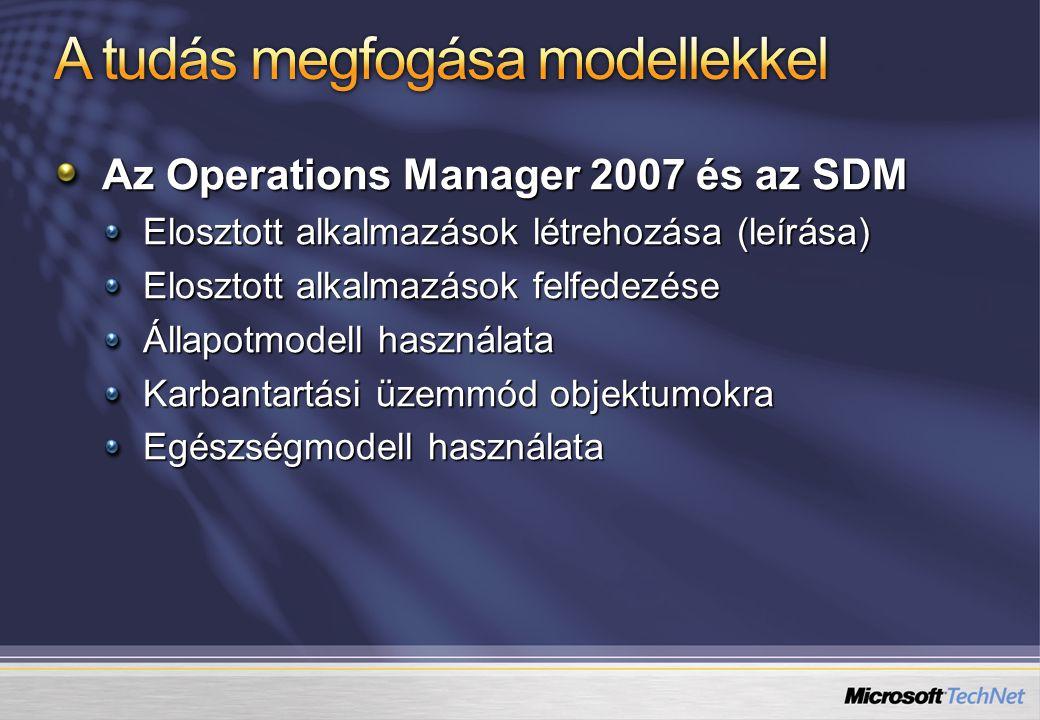 Az Operations Manager 2007 és az SDM Elosztott alkalmazások létrehozása (leírása) Elosztott alkalmazások felfedezése Állapotmodell használata Karbantartási üzemmód objektumokra Egészségmodell használata