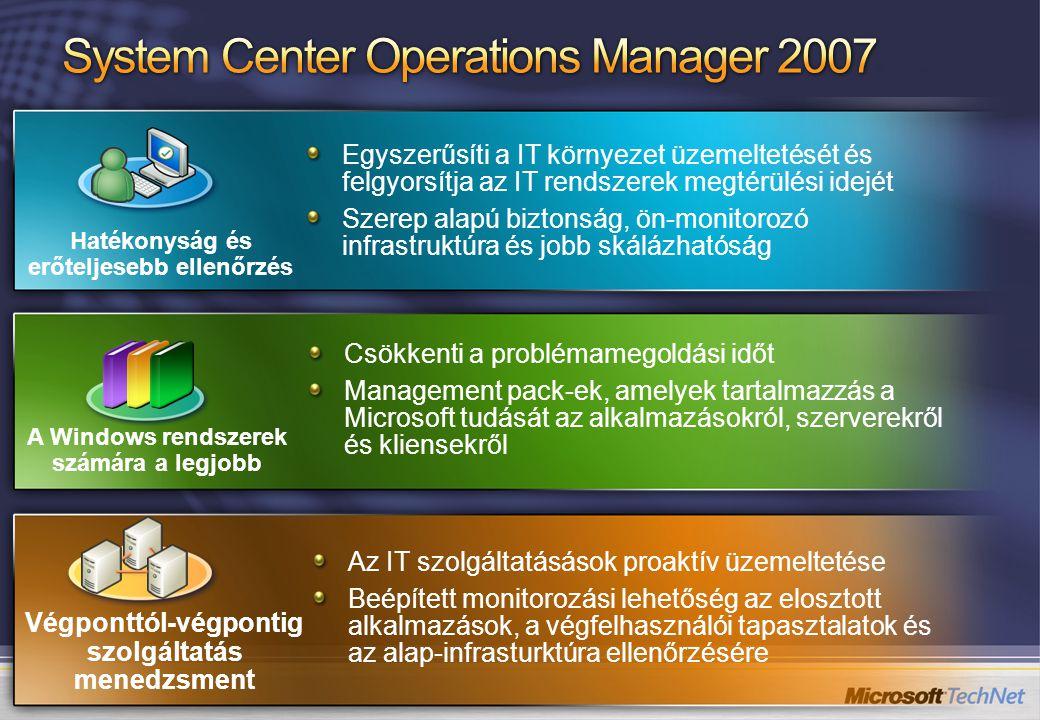 Az IT szolgáltatásások proaktív üzemeltetése Beépített monitorozási lehetőség az elosztott alkalmazások, a végfelhasználói tapasztalatok és az alap-infrasturktúra ellenőrzésére Csökkenti a problémamegoldási időt Management pack-ek, amelyek tartalmazzás a Microsoft tudását az alkalmazásokról, szerverekről és kliensekről Egyszerűsíti a IT környezet üzemeltetését és felgyorsítja az IT rendszerek megtérülési idejét Szerep alapú biztonság, ön-monitorozó infrastruktúra és jobb skálázhatóság A Windows rendszerek számára a legjobb Hatékonyság és erőteljesebb ellenőrzés Végponttól-végpontig szolgáltatás menedzsment