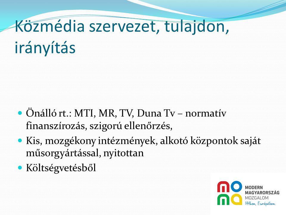Közmédia szervezet, tulajdon, irányítás  Önálló rt.: MTI, MR, TV, Duna Tv – normatív finanszírozás, szigorú ellenőrzés,  Kis, mozgékony intézmények, alkotó központok saját műsorgyártással, nyitottan  Költségvetésből