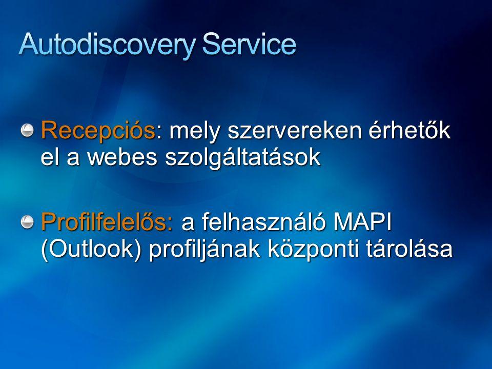 Recepciós: mely szervereken érhetők el a webes szolgáltatások Profilfelelős: a felhasználó MAPI (Outlook) profiljának központi tárolása