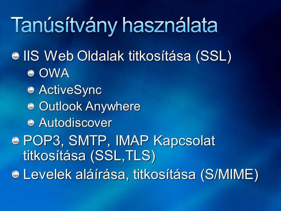 IIS Web Oldalak titkosítása (SSL) OWAActiveSync Outlook Anywhere Autodiscover POP3, SMTP, IMAP Kapcsolat titkosítása (SSL,TLS) Levelek aláírása, titkosítása (S/MIME)