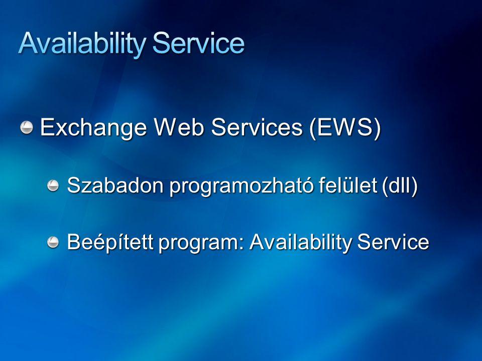 Exchange Web Services (EWS) Szabadon programozható felület (dll) Beépített program: Availability Service