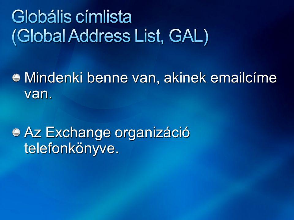 Mindenki benne van, akinek emailcíme van. Az Exchange organizáció telefonkönyve.