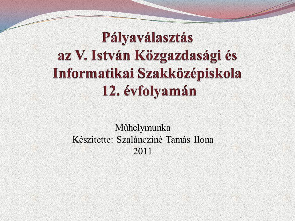 Műhelymunka Készítette: Szaláncziné Tamás Ilona 2011