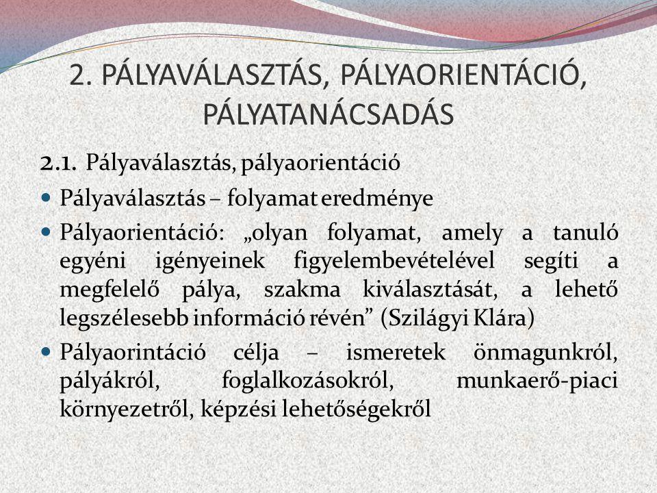 """2. PÁLYAVÁLASZTÁS, PÁLYAORIENTÁCIÓ, PÁLYATANÁCSADÁS 2.1. Pályaválasztás, pályaorientáció  Pályaválasztás – folyamat eredménye  Pályaorientáció: """"oly"""