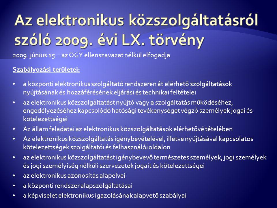 2009. június 15. : az OGY ellenszavazat nélkül elfogadja Szabályozási területei: • a központi elektronikus szolgáltató rendszeren át elérhető szolgált