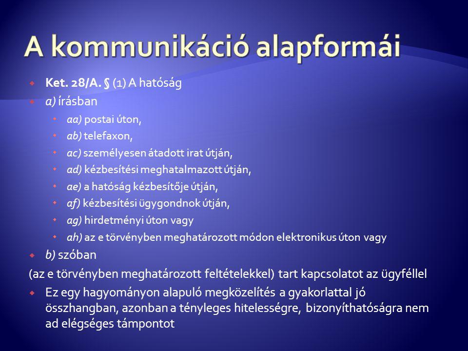  Ket. 28/A. § (1) A hatóság  a) írásban  aa) postai úton,  ab) telefaxon,  ac) személyesen átadott irat útján,  ad) kézbesítési meghatalmazott ú