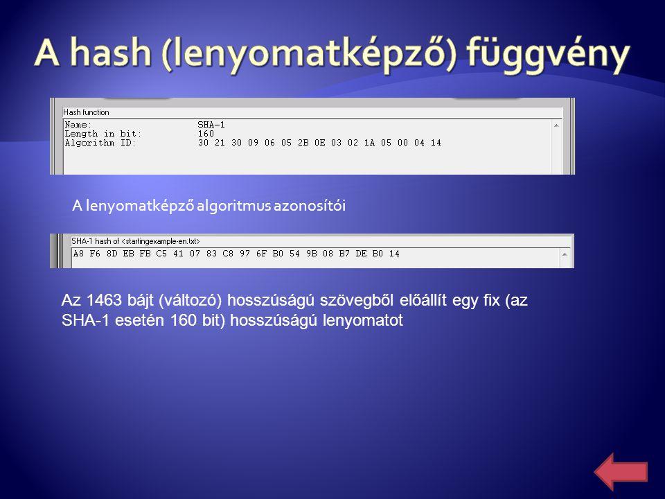 Az 1463 bájt (változó) hosszúságú szövegből előállít egy fix (az SHA-1 esetén 160 bit) hosszúságú lenyomatot