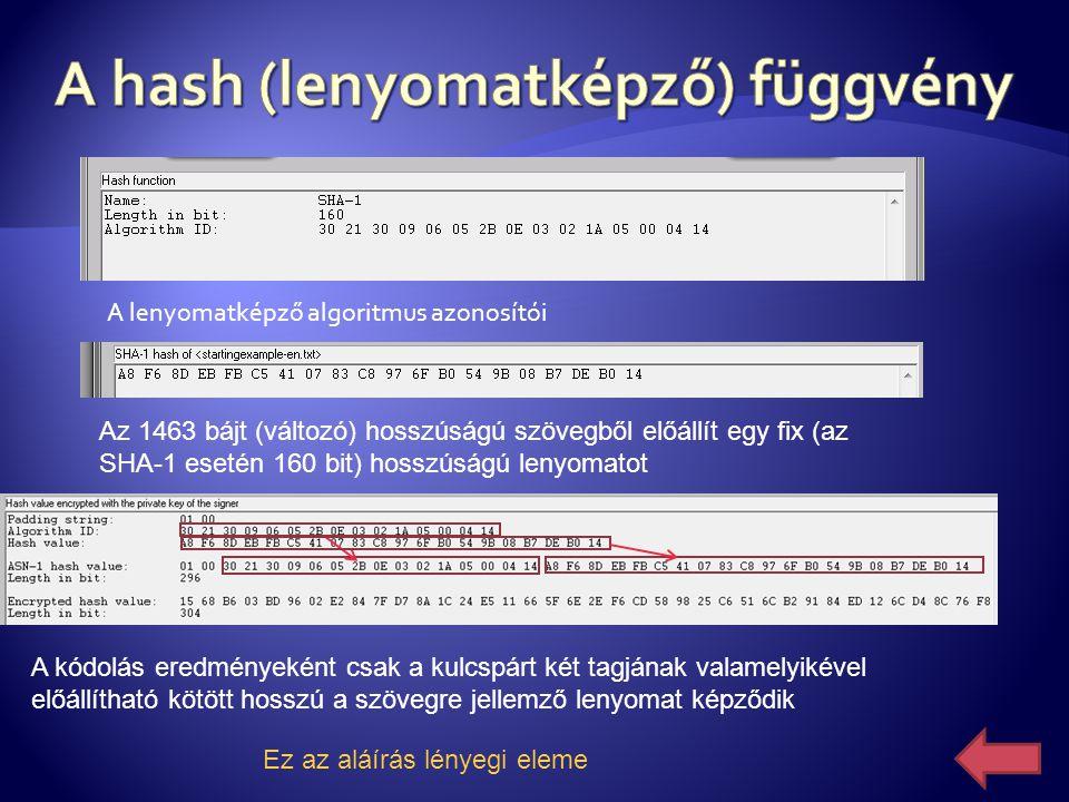 A lenyomatképző algoritmus azonosítói Az 1463 bájt (változó) hosszúságú szövegből előállít egy fix (az SHA-1 esetén 160 bit) hosszúságú lenyomatot A k