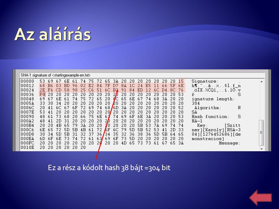 Ez a rész a kódolt hash 38 bájt =304 bit