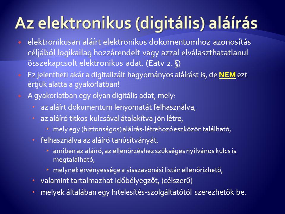  elektronikusan aláírt elektronikus dokumentumhoz azonosítás céljából logikailag hozzárendelt vagy azzal elválaszthatatlanul összekapcsolt elektronik