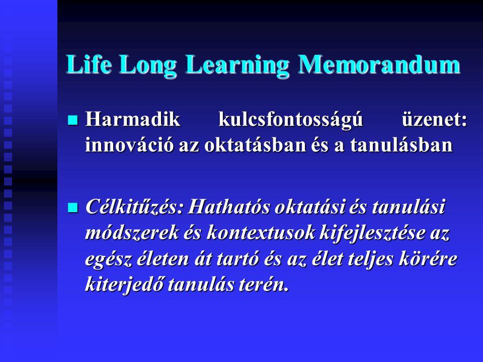 Life Long Learning Memorandum  Harmadik kulcsfontosságú üzenet: innováció az oktatásban és a tanulásban  Célkitűzés: Hathatós oktatási és tanulási módszerek és kontextusok kifejlesztése az egész életen át tartó és az élet teljes körére kiterjedő tanulás terén.