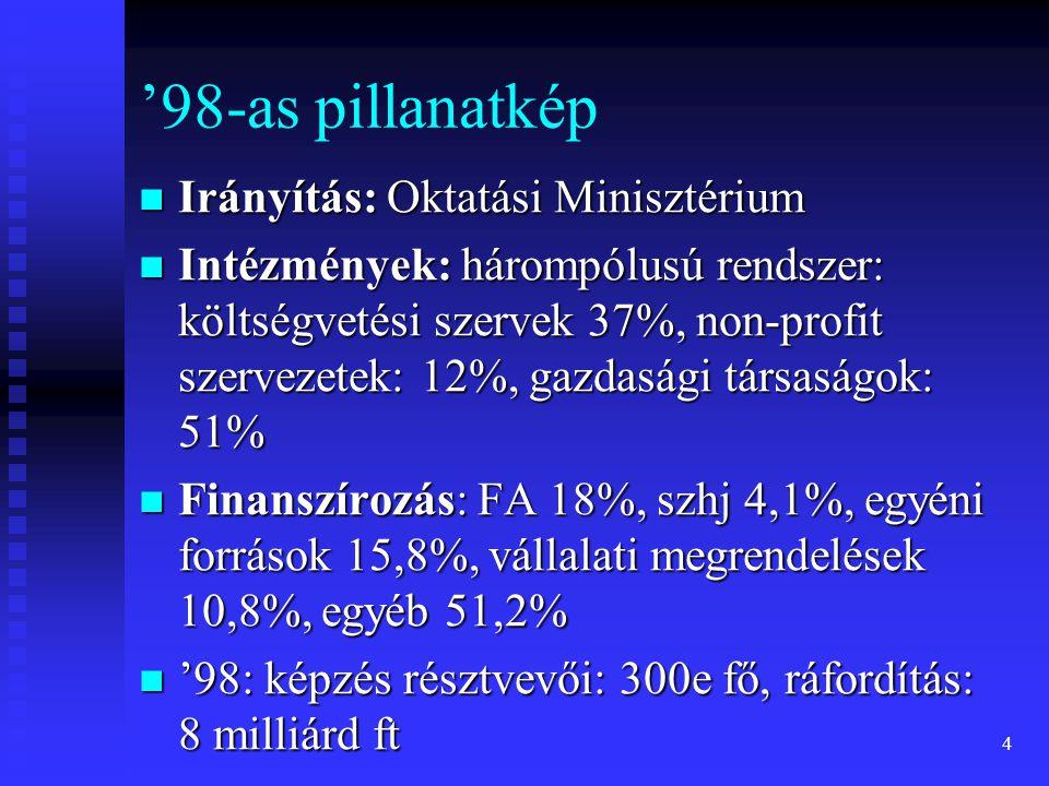 '98-as pillanatkép  Irányítás: Oktatási Minisztérium  Intézmények: hárompólusú rendszer: költségvetési szervek 37%, non-profit szervezetek: 12%, gazdasági társaságok: 51%  Finanszírozás: FA 18%, szhj 4,1%, egyéni források 15,8%, vállalati megrendelések 10,8%, egyéb 51,2%  '98: képzés résztvevői: 300e fő, ráfordítás: 8 milliárd ft 4