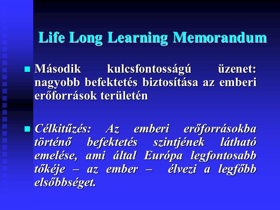 Life Long Learning Memorandum  Második kulcsfontosságú üzenet: nagyobb befektetés biztosítása az emberi erőforrások területén  Célkitűzés: Az emberi erőforrásokba történő befektetés szintjének látható emelése, ami által Európa legfontosabb tőkéje – az ember – élvezi a legfőbb elsőbbséget.