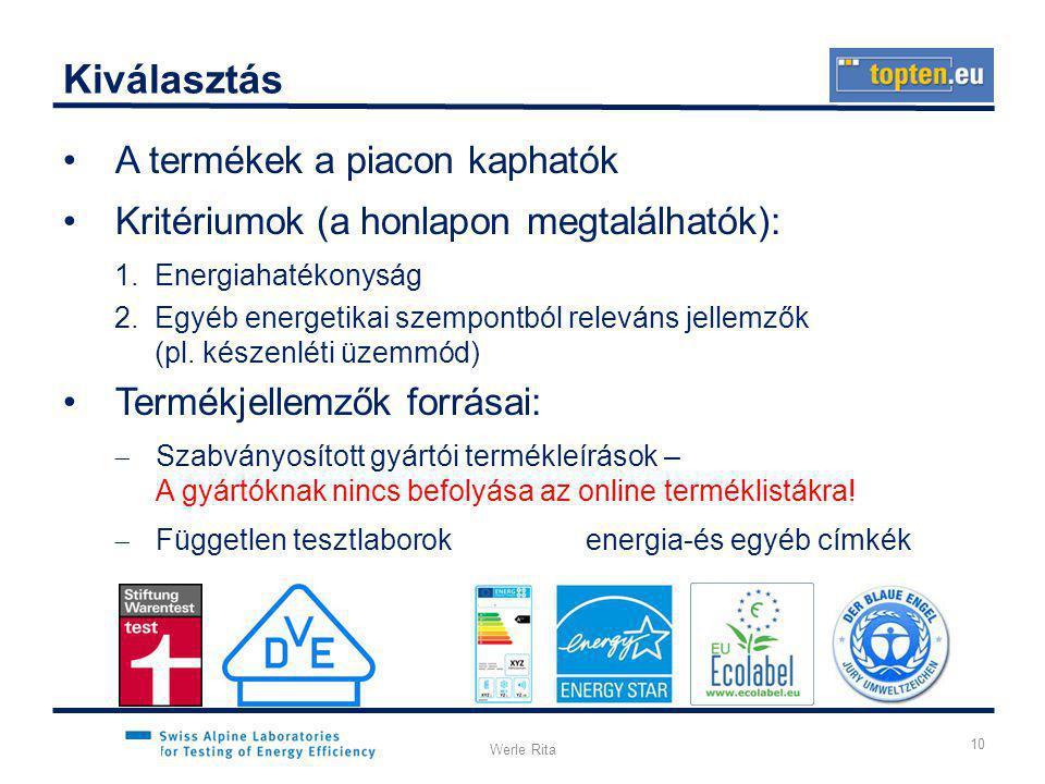 KLENEN, 2012.03.08.Werle Rita Kiválasztás •A termékek a piacon kaphatók •Kritériumok (a honlapon megtalálhatók): 1.Energiahatékonyság 2.Egyéb energetikai szempontból releváns jellemzők (pl.