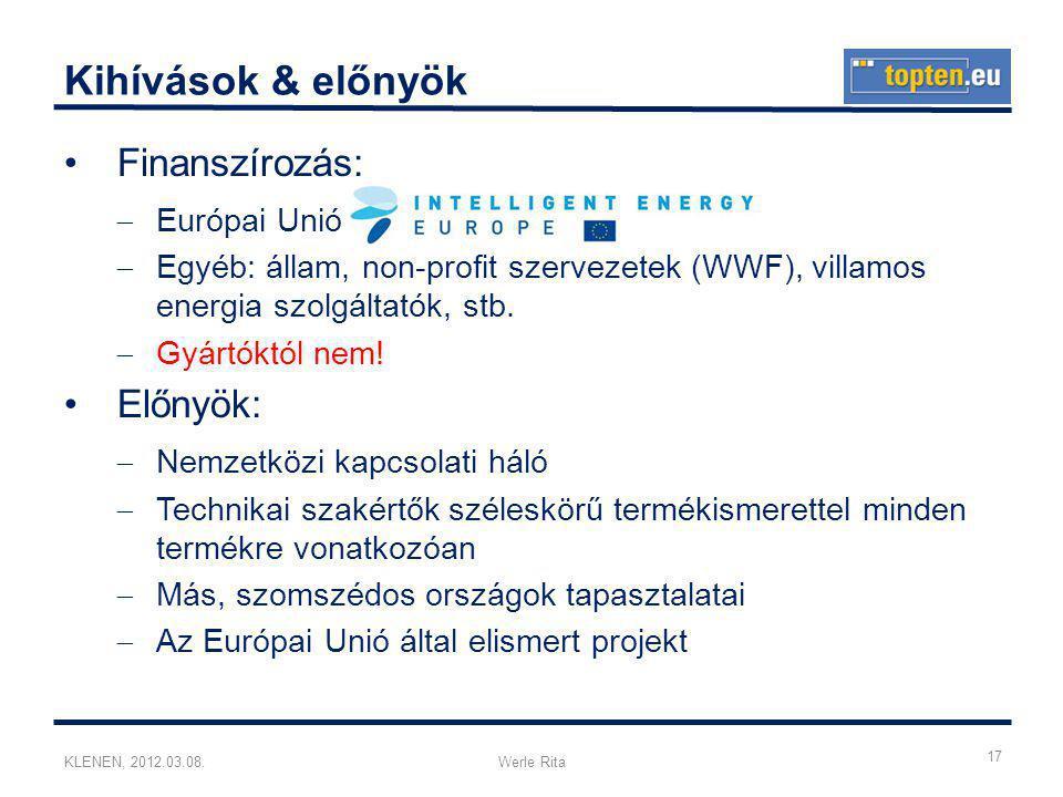 KLENEN, 2012.03.08.Werle Rita Kihívások & előnyök •Finanszírozás:  Európai Unió  Egyéb: állam, non-profit szervezetek (WWF), villamos energia szolgáltatók, stb.