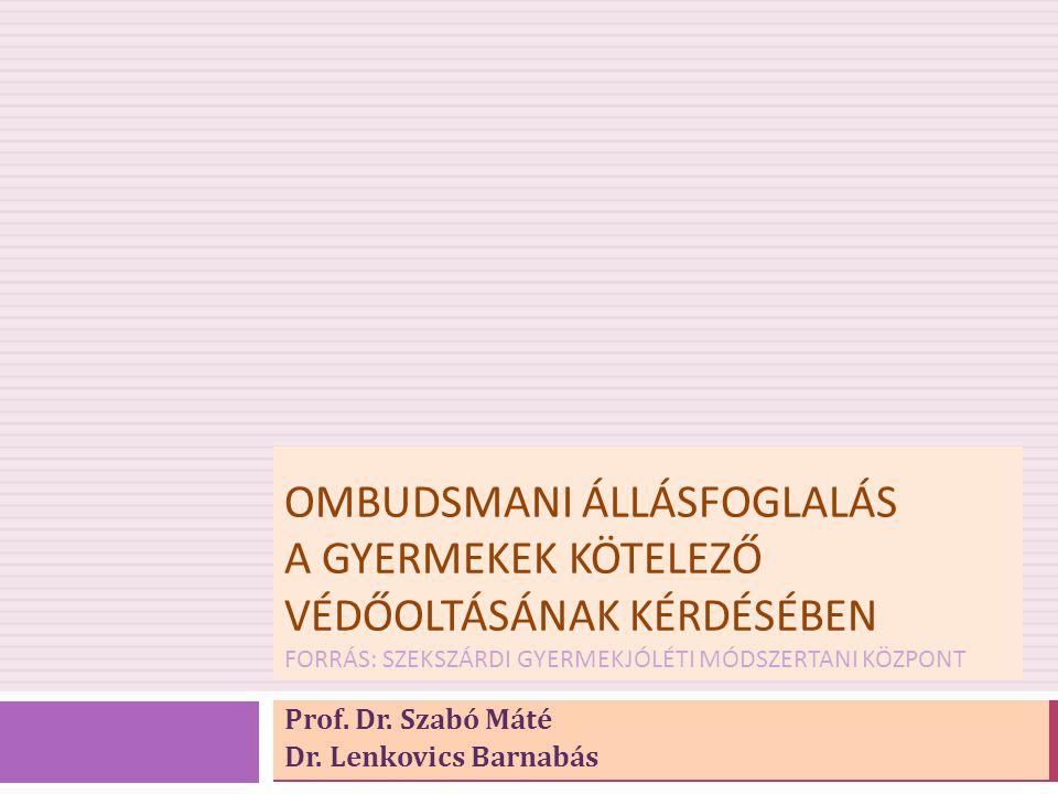 OMBUDSMANI ÁLLÁSFOGLALÁS A GYERMEKEK KÖTELEZŐ VÉDŐOLTÁSÁNAK KÉRDÉSÉBEN FORRÁS: SZEKSZÁRDI GYERMEKJÓLÉTI MÓDSZERTANI KÖZPONT Prof. Dr. Szabó Máté Dr. L