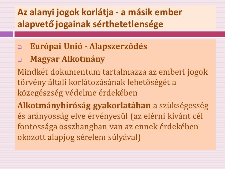 Az alanyi jogok korlátja - a másik ember alapvető jogainak sérthetetlensége  Európai Unió - Alapszerződés  Magyar Alkotmány Mindkét dokumentum tarta