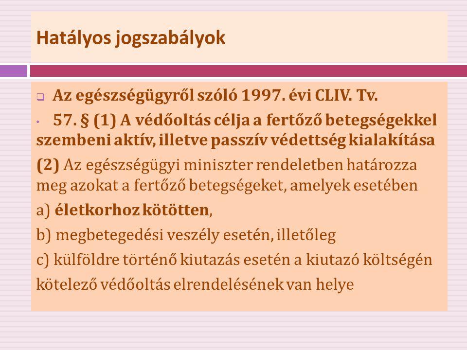 Hatályos jogszabályok  Az egészségügyről szóló 1997. évi CLIV. Tv. • 57. § (1) A védőoltás célja a fertőző betegségekkel szembeni aktív, illetve pass