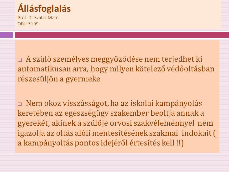 Állásfoglalás Prof. Dr Szabó Máté OBH 5199  A szülő személyes meggyőződése nem terjedhet ki automatikusan arra, hogy milyen kötelező védőoltásban rés