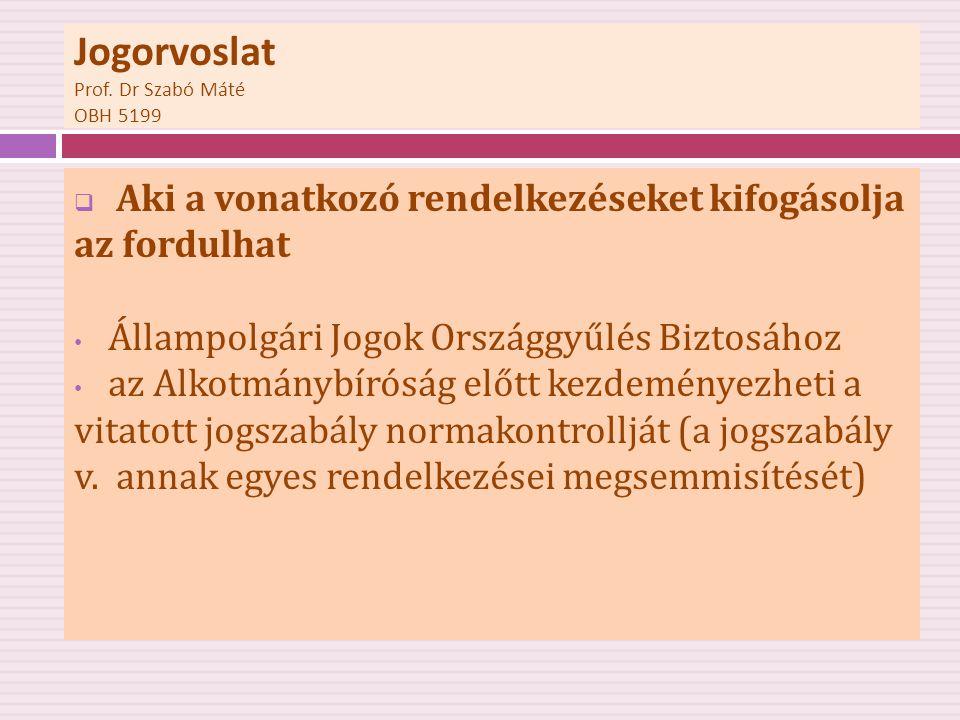 Jogorvoslat Prof. Dr Szabó Máté OBH 5199  Aki a vonatkozó rendelkezéseket kifogásolja az fordulhat • Állampolgári Jogok Országgyűlés Biztosához • az
