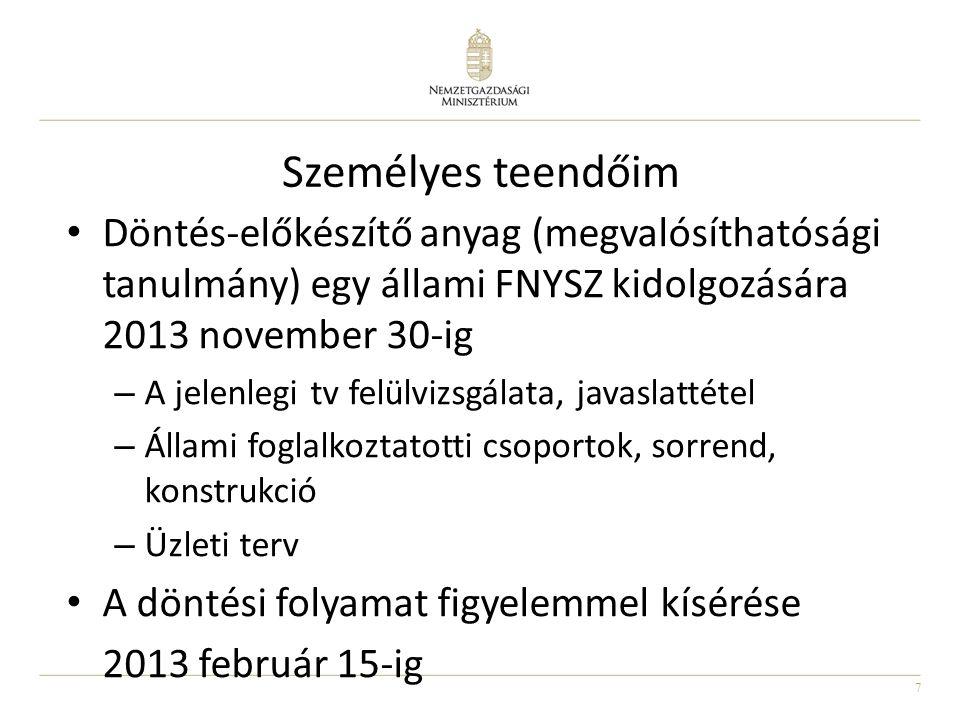 7 Személyes teendőim • Döntés-előkészítő anyag (megvalósíthatósági tanulmány) egy állami FNYSZ kidolgozására 2013 november 30-ig – A jelenlegi tv felü