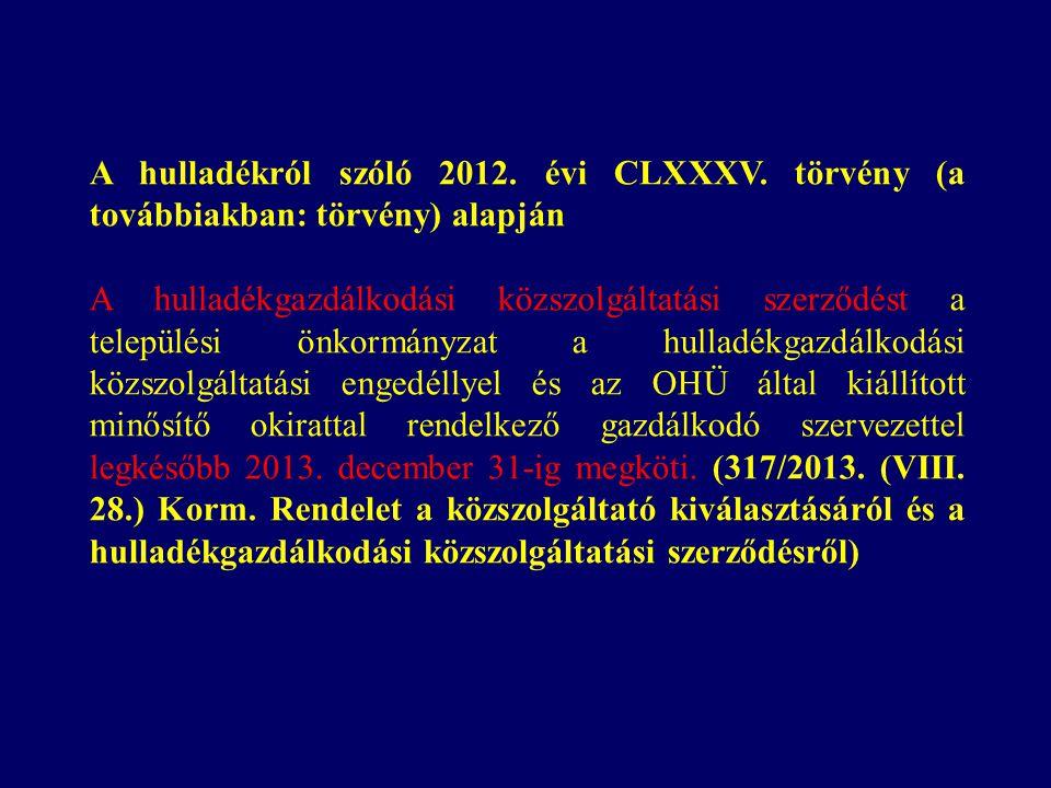 A hulladékról szóló 2012. évi CLXXXV.