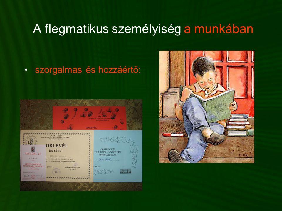 A flegmatikus személyiség a munkában •szorgalmas és hozzáértő: